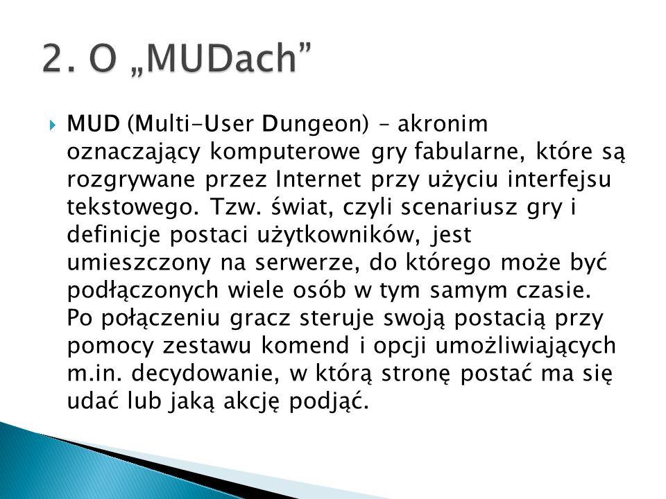  MUD (Multi-User Dungeon) – akronim oznaczający komputerowe gry fabularne, które są rozgrywane przez Internet przy użyciu interfejsu tekstowego. Tzw.