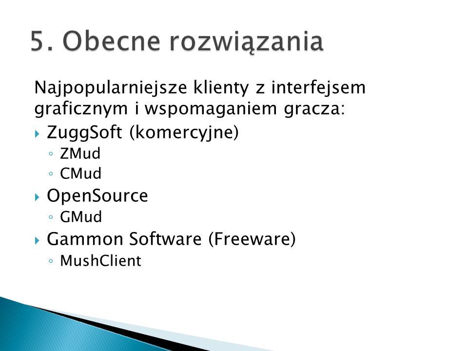 Najpopularniejsze klienty z interfejsem graficznym i wspomaganiem gracza:  ZuggSoft (komercyjne) ◦ ZMud ◦ CMud  OpenSource ◦ GMud  Gammon Software