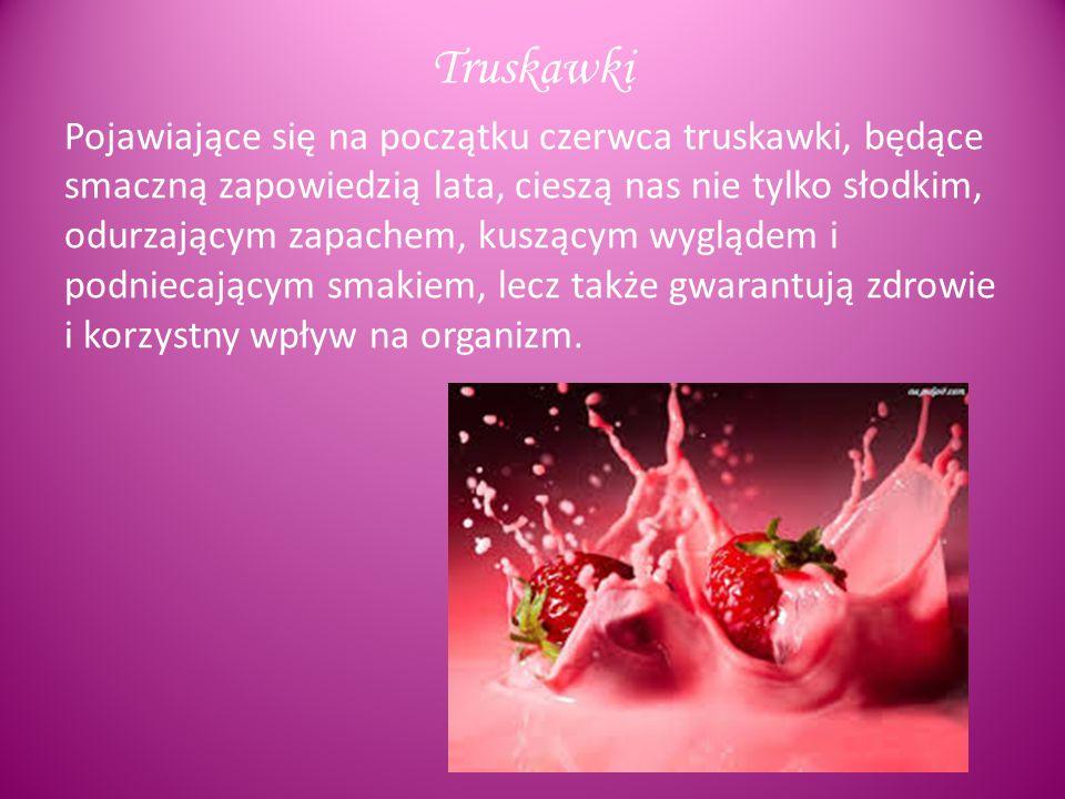 100 g truskawek zawiera: 0,6 g białka 6,2 g węglowodanów 2,2 g błonnika 160 mg potasu 23 mg fosforu 22 mg wapnia 12 mg magnezu 2 mg sodu 0,7 mg żelaza 0,1 mg cynku mangan 30 mg witaminy A 0,02 mg witaminy B1 0,03 mg witaminy B2 0,4 mg witaminy B3 (PP) 0,06 mg witaminy B6 60 mg witaminy C 0,2 mg witaminy E 20 mg kwasu foliowego