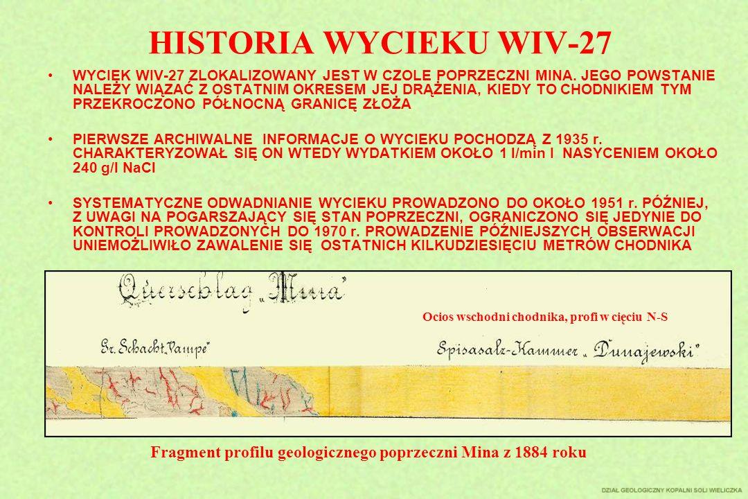 HISTORIA WYCIEKU WIV-27 WYCIEK WIV-27 ZLOKALIZOWANY JEST W CZOLE POPRZECZNI MINA. JEGO POWSTANIE NALEŻY WIĄZAĆ Z OSTATNIM OKRESEM JEJ DRĄŻENIA, KIEDY