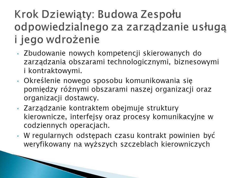 Zbudowanie nowych kompetencji skierowanych do zarządzania obszarami technologicznymi, biznesowymi i kontraktowymi.