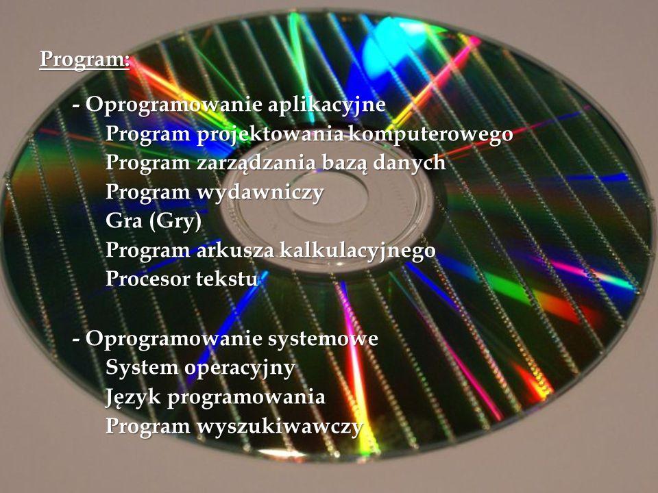 Program: - Oprogramowanie aplikacyjne Program projektowania komputerowego Program zarządzania bazą danych Program wydawniczy Gra (Gry) Program arkusza
