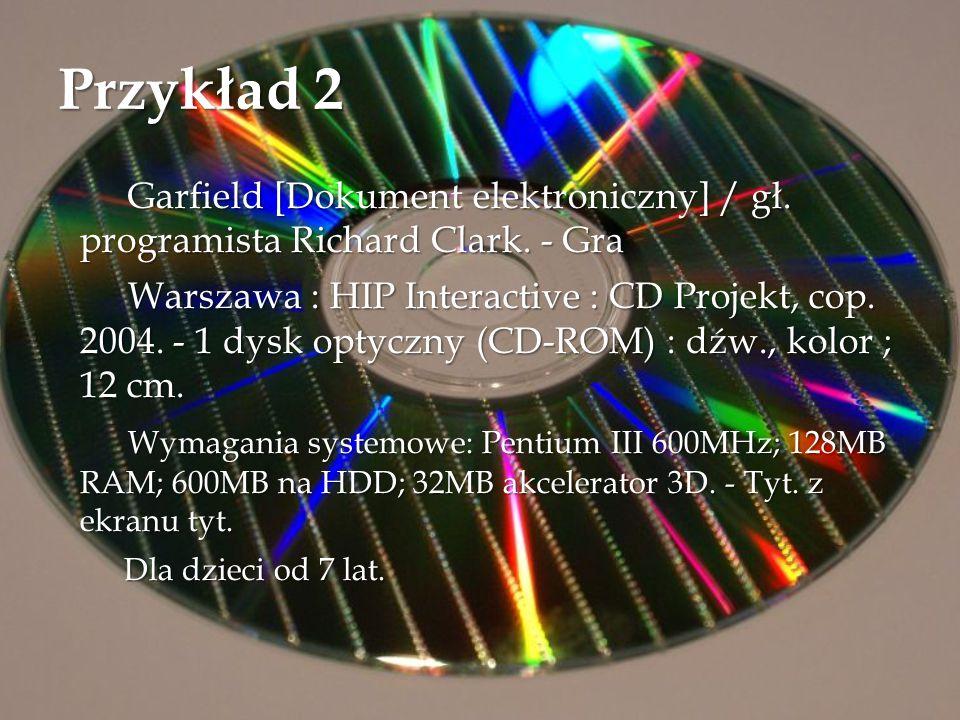 Przykład 2 Garfield [Dokument elektroniczny] / gł. programista Richard Clark. - Gra Garfield [Dokument elektroniczny] / gł. programista Richard Clark.