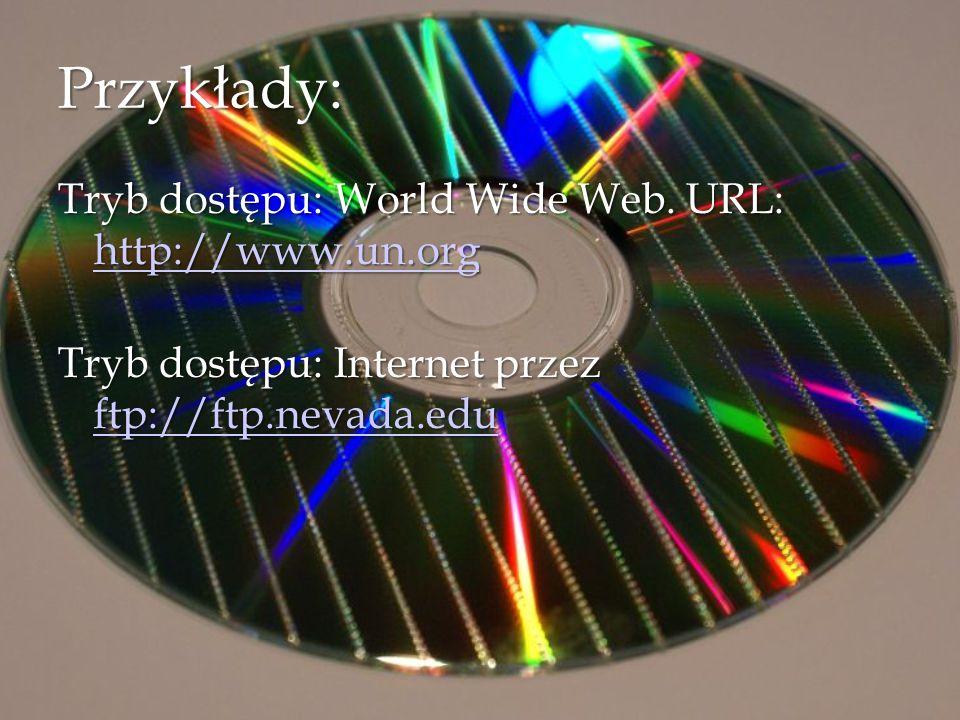 Przykłady: Tryb dostępu: World Wide Web. URL: http://www.un.org Tryb dostępu: World Wide Web. URL: http://www.un.org http://www.un.org Tryb dostępu: I