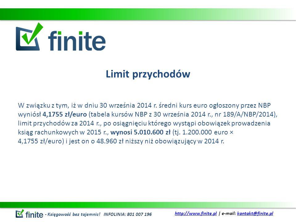 Limit przychodów W związku z tym, iż w dniu 30 września 2014 r.