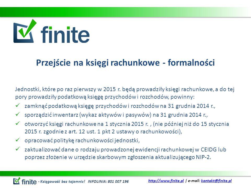 Przejście na księgi rachunkowe - formalności Jednostki, które po raz pierwszy w 2015 r.