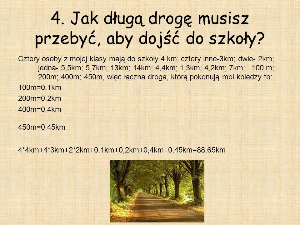 4.Jak długą drogę musisz przebyć, aby dojść do szkoły.