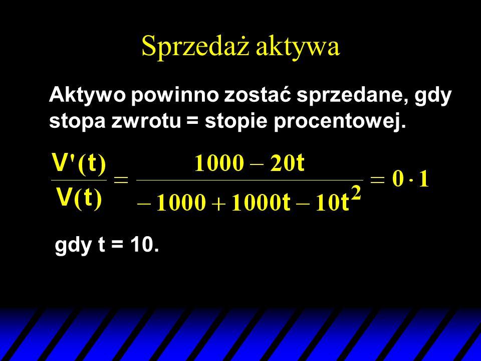 Sprzedaż aktywa Aktywo powinno zostać sprzedane, gdy stopa zwrotu = stopie procentowej. gdy t = 10.