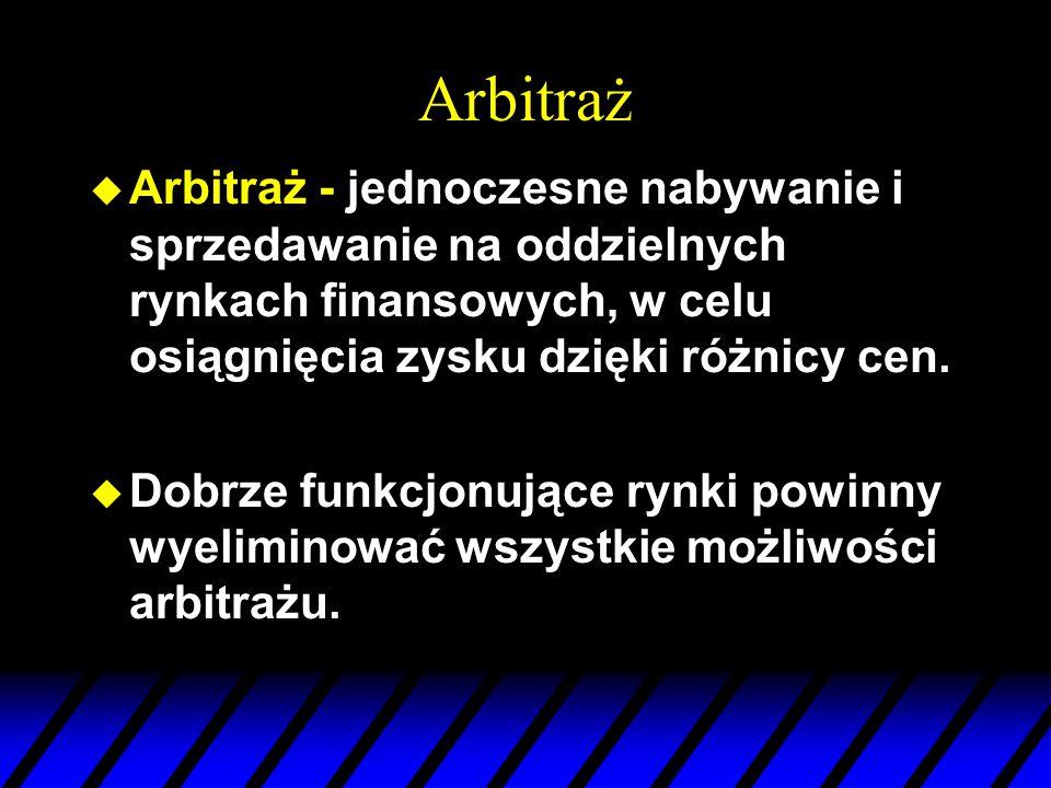 Arbitraż u Arbitraż - jednoczesne nabywanie i sprzedawanie na oddzielnych rynkach finansowych, w celu osiągnięcia zysku dzięki różnicy cen.