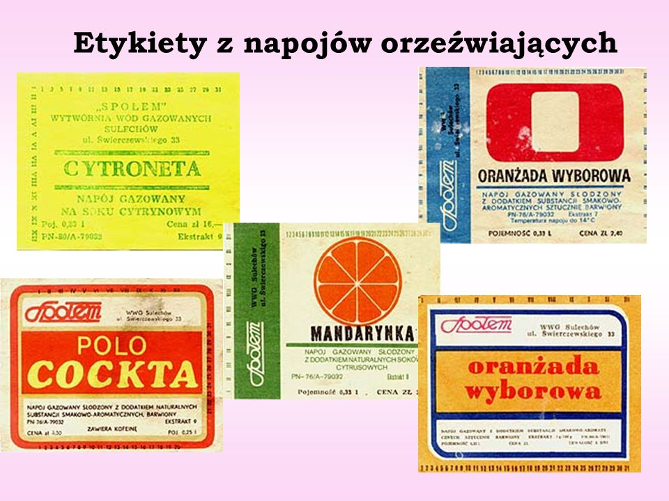 Etykiety z napojów orzeźwiających