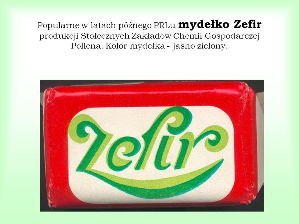 Popularne w latach późnego PRLu mydełko Zefir produkcji Stołecznych Zakładów Chemii Gospodarczej Pollena. Kolor mydełka - jasno zielony.