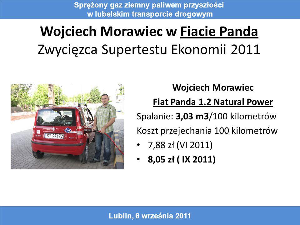 Wojciech Morawiec w Fiacie Panda Zwycięzca Supertestu Ekonomii 2011 Wojciech Morawiec Fiat Panda 1.2 Natural Power Spalanie: 3,03 m3/100 kilometrów Koszt przejechania 100 kilometrów 7,88 zł (VI 2011) 8,05 zł ( IX 2011) Sprężony gaz ziemny paliwem przyszłości w lubelskim transporcie drogowym Lublin, 6 września 2011