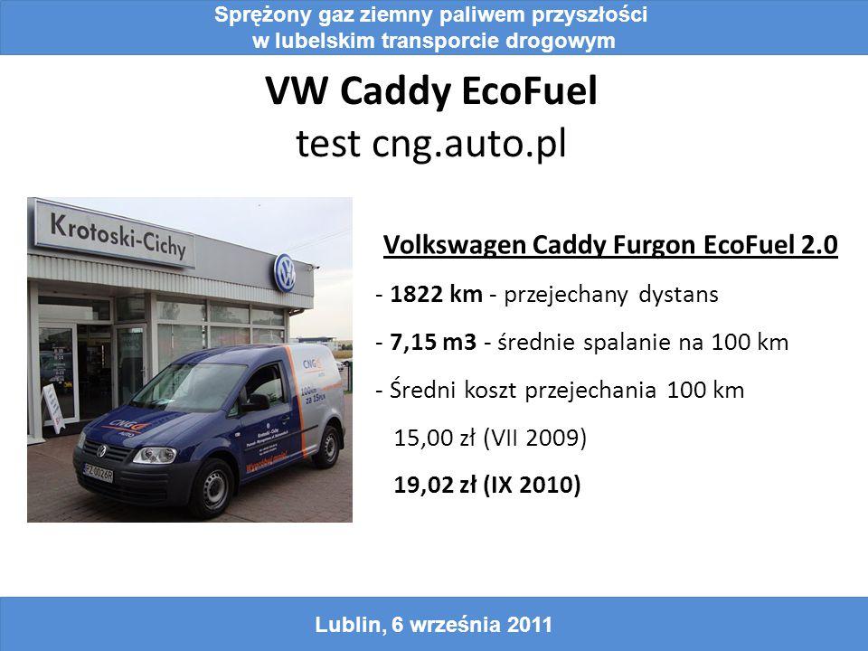 VW Caddy EcoFuel test cng.auto.pl Sprężony gaz ziemny paliwem przyszłości w lubelskim transporcie drogowym Lublin, 6 września 2011 Volkswagen Caddy Furgon EcoFuel 2.0 - 1822 km - przejechany dystans - 7,15 m3 - średnie spalanie na 100 km - Średni koszt przejechania 100 km 15,00 zł (VII 2009) 19,02 zł (IX 2010)
