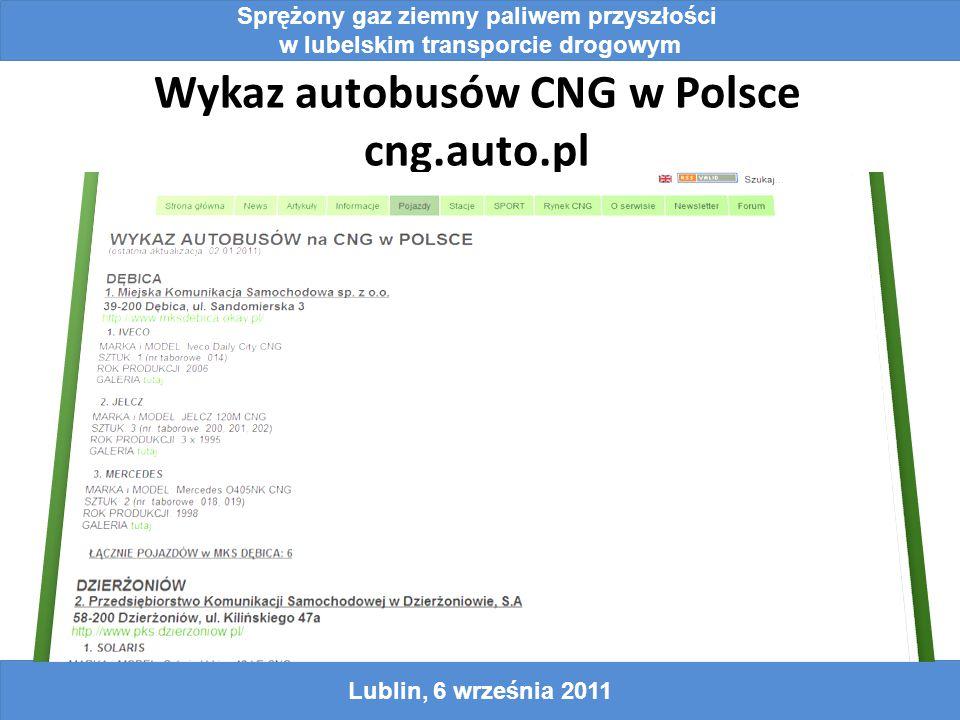 Wykaz autobusów CNG w Polsce cng.auto.pl Sprężony gaz ziemny paliwem przyszłości w lubelskim transporcie drogowym Lublin, 6 września 2011