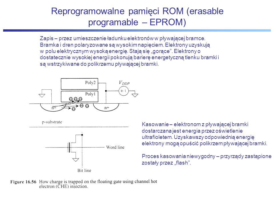 Reprogramowalne pamięci ROM (erasable programable – EPROM) Zapis – przez umieszczenie ładunku elektronów w pływającej bramce.