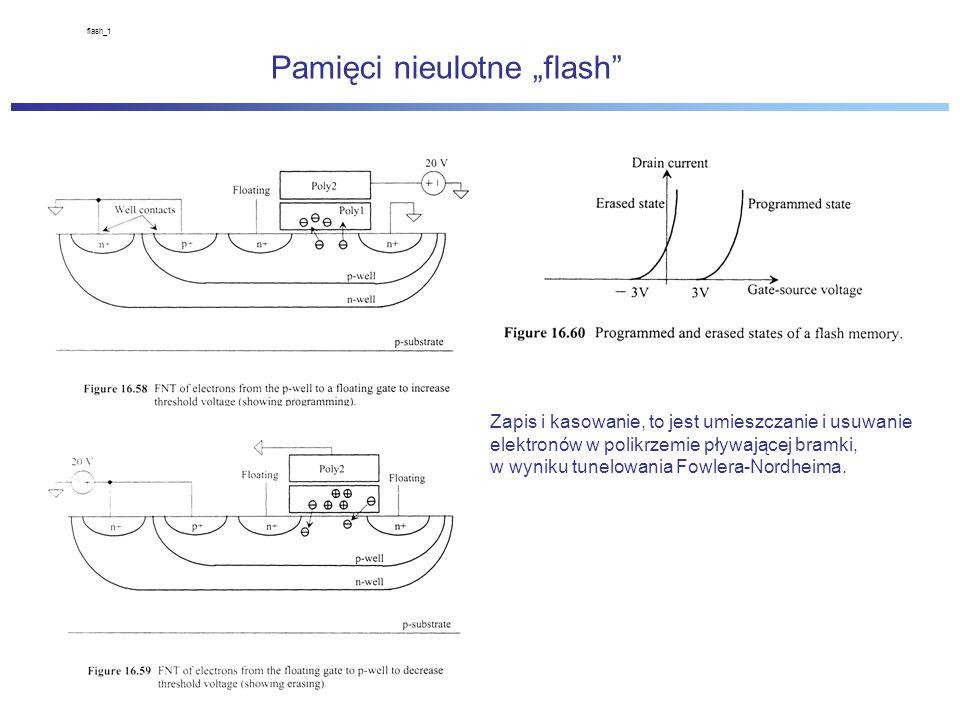 """flash_1 Pamięci nieulotne """"flash Zapis i kasowanie, to jest umieszczanie i usuwanie elektronów w polikrzemie pływającej bramki, w wyniku tunelowania Fowlera-Nordheima."""