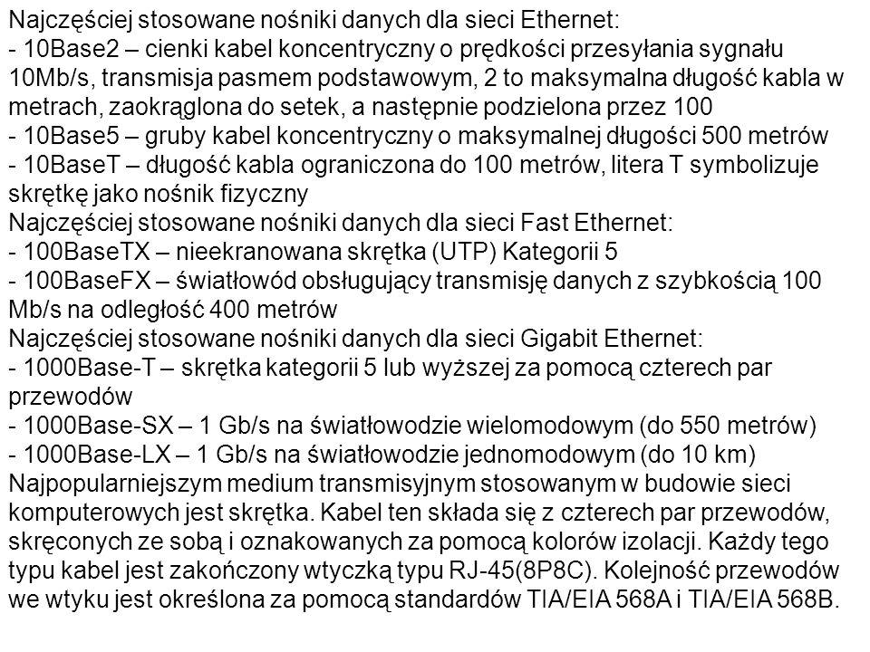 Najczęściej stosowane nośniki danych dla sieci Ethernet: - 10Base2 – cienki kabel koncentryczny o prędkości przesyłania sygnału 10Mb/s, transmisja pasmem podstawowym, 2 to maksymalna długość kabla w metrach, zaokrąglona do setek, a następnie podzielona przez 100 - 10Base5 – gruby kabel koncentryczny o maksymalnej długości 500 metrów - 10BaseT – długość kabla ograniczona do 100 metrów, litera T symbolizuje skrętkę jako nośnik fizyczny Najczęściej stosowane nośniki danych dla sieci Fast Ethernet: - 100BaseTX – nieekranowana skrętka (UTP) Kategorii 5 - 100BaseFX – światłowód obsługujący transmisję danych z szybkością 100 Mb/s na odległość 400 metrów Najczęściej stosowane nośniki danych dla sieci Gigabit Ethernet: - 1000Base-T – skrętka kategorii 5 lub wyższej za pomocą czterech par przewodów - 1000Base-SX – 1 Gb/s na światłowodzie wielomodowym (do 550 metrów) - 1000Base-LX – 1 Gb/s na światłowodzie jednomodowym (do 10 km) Najpopularniejszym medium transmisyjnym stosowanym w budowie sieci komputerowych jest skrętka.