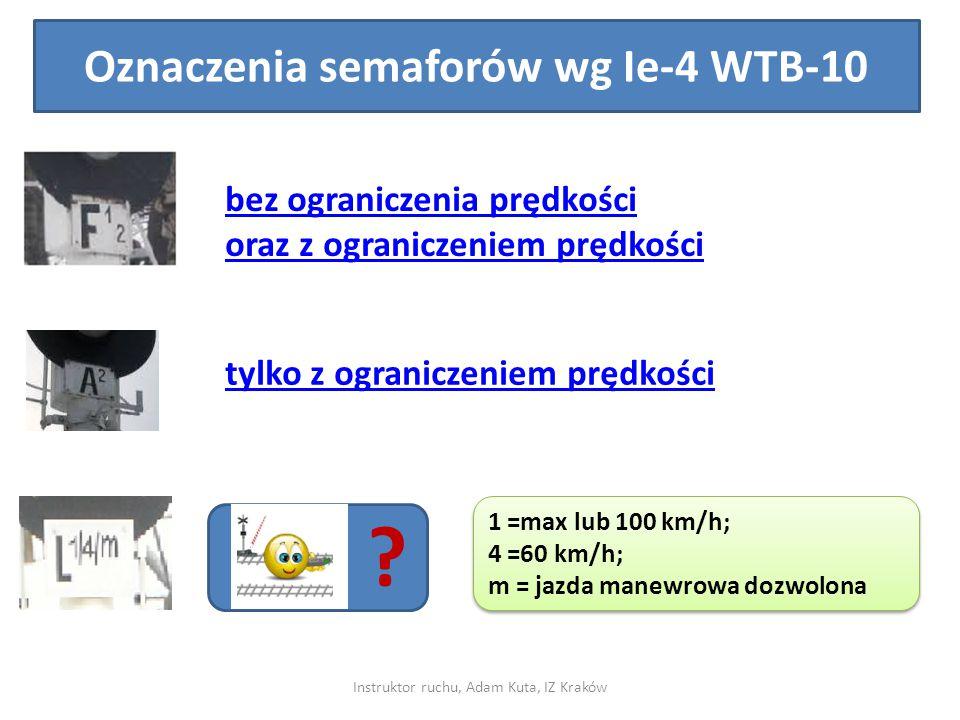 Oznaczenia semaforów wg Ie-4 WTB-10 bez ograniczenia prędkości oraz z ograniczeniem prędkości tylko z ograniczeniem prędkości ? 1 =max lub 100 km/h; 4