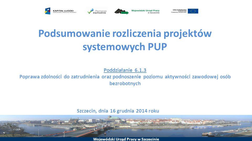 Wojewódzki Urząd Pracy w Szczecinie Podsumowanie rozliczenia projektów systemowych PUP Poddziałanie 6.1.3 Poprawa zdolności do zatrudnienia oraz podnoszenie poziomu aktywności zawodowej osób bezrobotnych Szczecin, dnia 16 grudnia 2014 roku