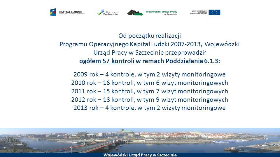 Wojewódzki Urząd Pracy w Szczecinie Od początku realizacji Programu Operacyjnego Kapitał Ludzki 2007-2013, Wojewódzki Urząd Pracy w Szczecinie przeprowadził ogółem 57 kontroli w ramach Poddziałania 6.1.3: 2009 rok – 4 kontrole, w tym 2 wizyty monitoringowe 2010 rok – 16 kontroli, w tym 6 wizyt monitoringowych 2011 rok – 15 kontroli, w tym 7 wizyt monitoringowych 2012 rok – 18 kontroli, w tym 9 wizyt monitoringowych 2013 rok – 4 kontrole, w tym 2 wizyty monitoringowe