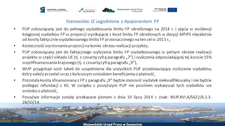 Wojewódzki Urząd Pracy w Szczecinie Stanowisko IZ uzgodnione z dysponentem FP PUP zobowiązany jest do pełnego wydatkowania limitu FP określonego na 2014 r.
