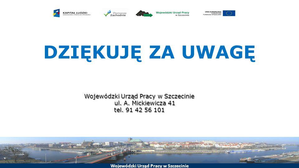 Wojewódzki Urząd Pracy w Szczecinie DZIĘKUJĘ ZA UWAGĘ Wojewódzki Urząd Pracy w Szczecinie ul.