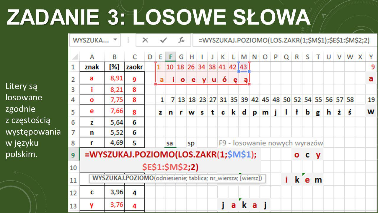 ZADANIE 3: ZADANIE 3: LOSOWE SŁOWA Litery są losowane zgodnie z częstością występowania w języku polskim.