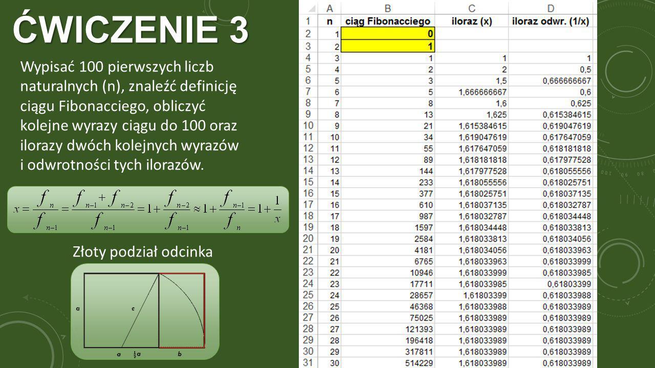 ĆWICZENIE 3 Wypisać 100 pierwszych liczb naturalnych (n), znaleźć definicję ciągu Fibonacciego, obliczyć kolejne wyrazy ciągu do 100 oraz ilorazy dwóch kolejnych wyrazów i odwrotności tych ilorazów.