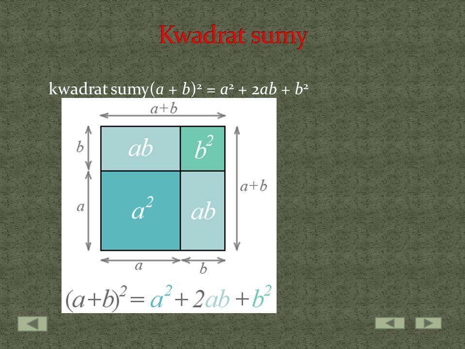 kwadrat sumy(a + b) 2 = a 2 + 2ab + b 2