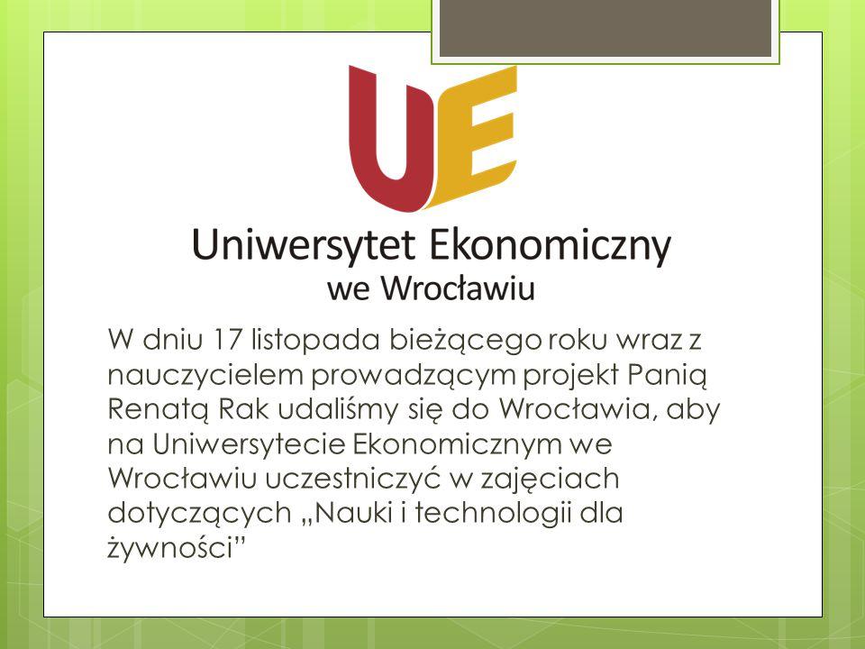 W dniu 17 listopada bieżącego roku wraz z nauczycielem prowadzącym projekt Panią Renatą Rak udaliśmy się do Wrocławia, aby na Uniwersytecie Ekonomiczn