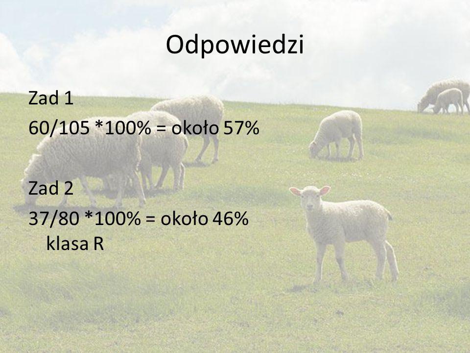 Odpowiedzi Zad 1 60/105 *100% = około 57% Zad 2 37/80 *100% = około 46% klasa R