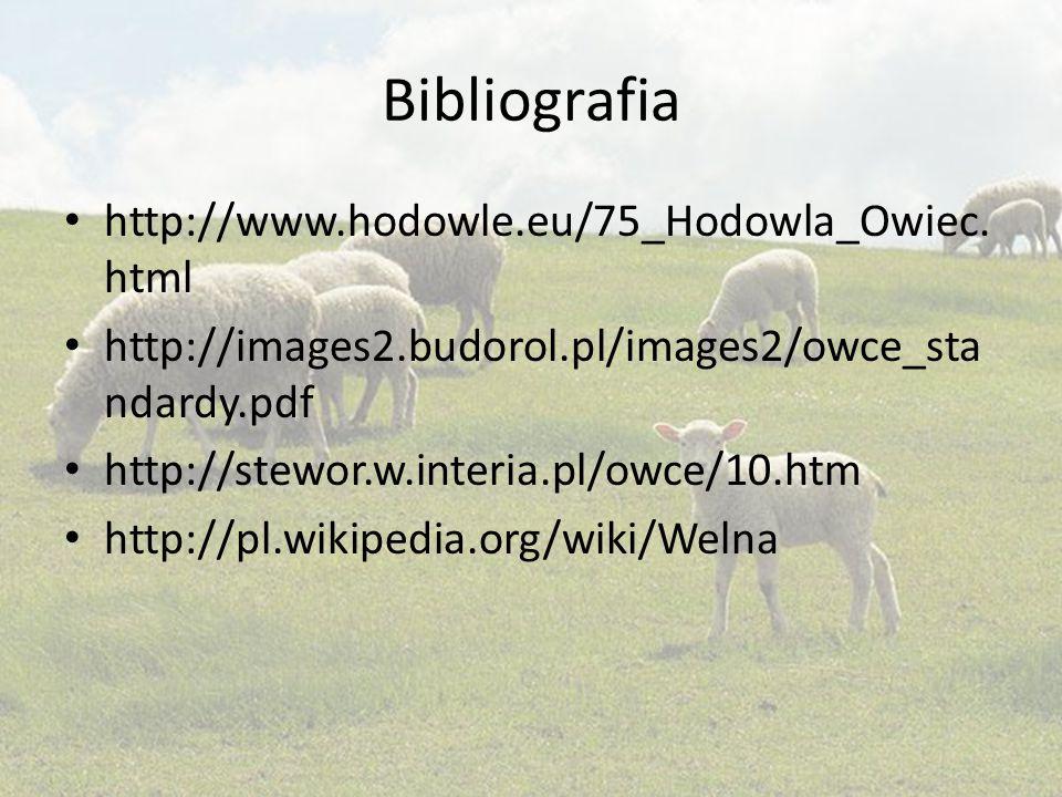 Bibliografia http://www.hodowle.eu/75_Hodowla_Owiec. html http://images2.budorol.pl/images2/owce_sta ndardy.pdf http://stewor.w.interia.pl/owce/10.htm