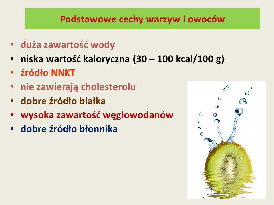 Podstawowe cechy warzyw i owoców duża zawartość wody niska wartość kaloryczna (30 – 100 kcal/100 g) źródło NNKT nie zawierają cholesterolu dobre źródł