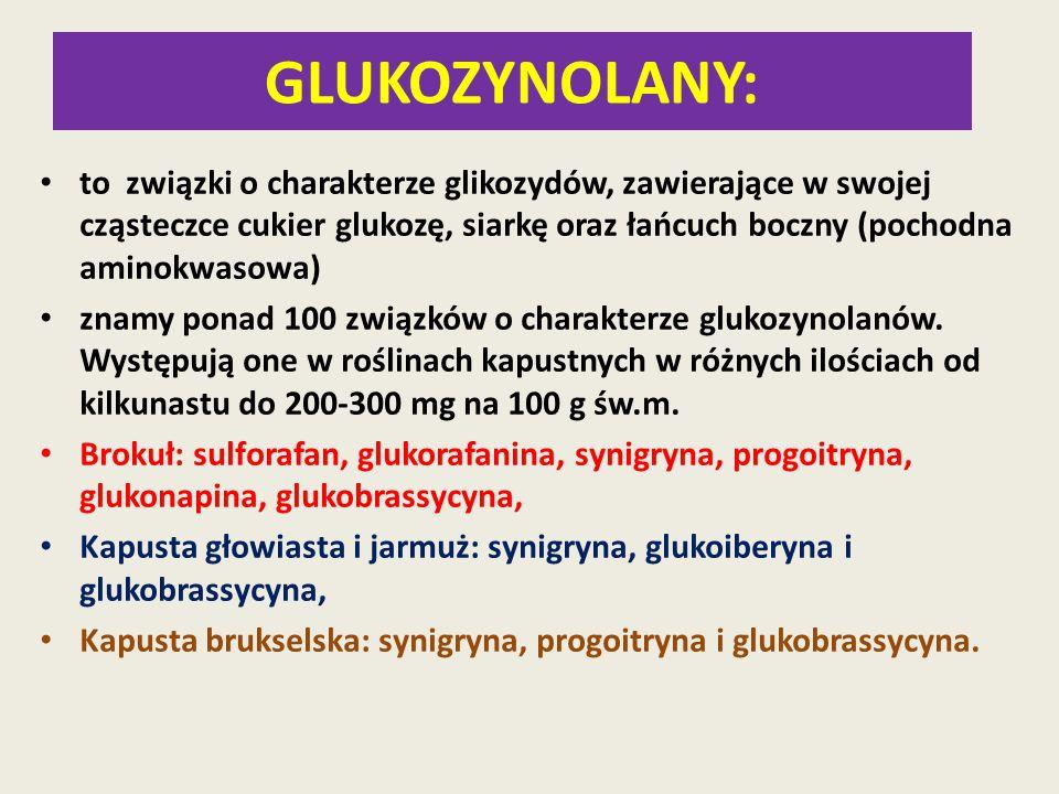 GLUKOZYNOLANY: to związki o charakterze glikozydów, zawierające w swojej cząsteczce cukier glukozę, siarkę oraz łańcuch boczny (pochodna aminokwasowa)