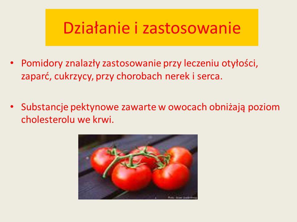 Działanie i zastosowanie Pomidory znalazły zastosowanie przy leczeniu otyłości, zaparć, cukrzycy, przy chorobach nerek i serca. Substancje pektynowe z