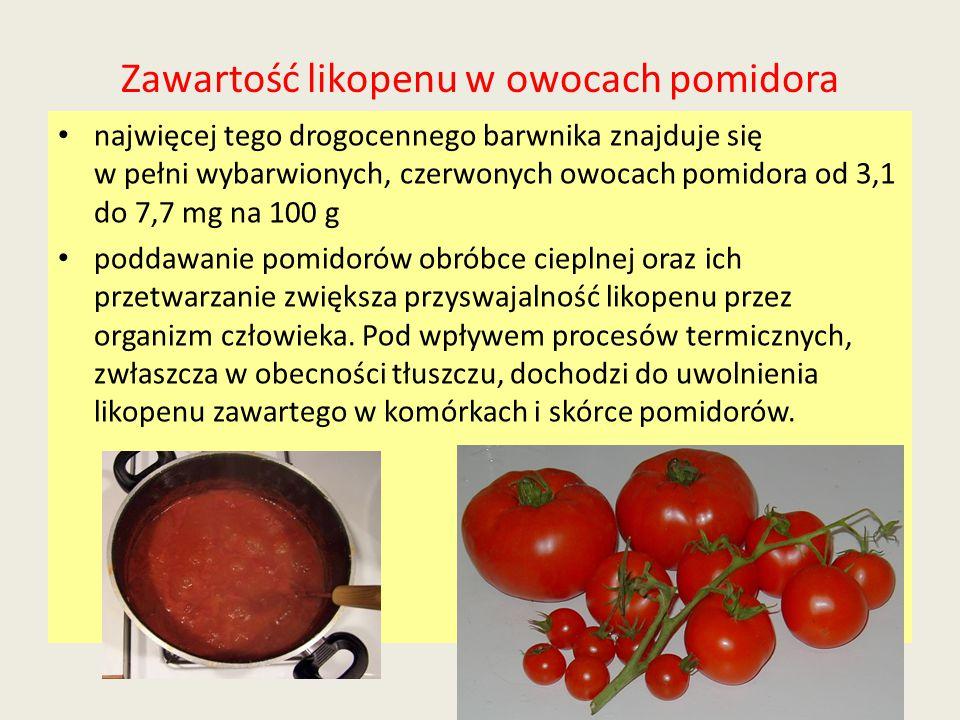 Zawartość likopenu w owocach pomidora najwięcej tego drogocennego barwnika znajduje się w pełni wybarwionych, czerwonych owocach pomidora od 3,1 do 7,