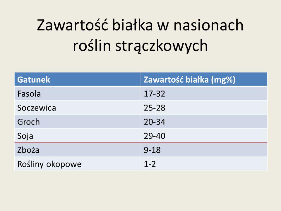 Zawartość białka w nasionach roślin strączkowych GatunekZawartość białka (mg%) Fasola17-32 Soczewica25-28 Groch20-34 Soja29-40 Zboża9-18 Rośliny okopo