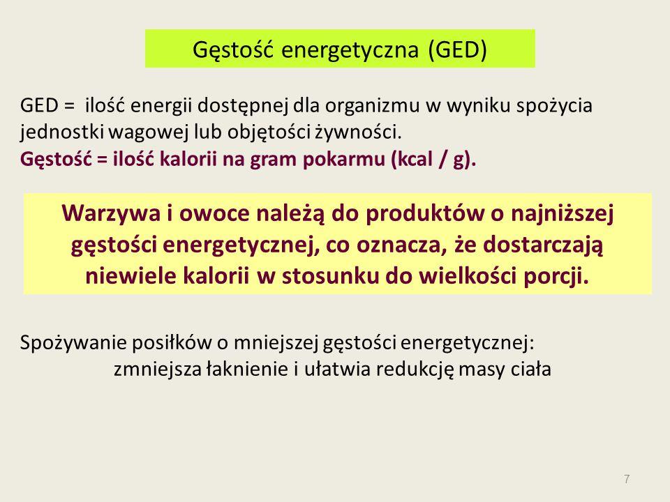 GED = ilość energii dostępnej dla organizmu w wyniku spożycia jednostki wagowej lub objętości żywności. Gęstość = ilość kalorii na gram pokarmu (kcal
