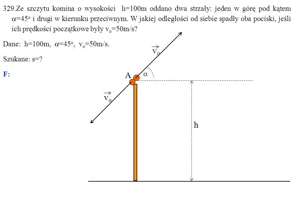 329.Ze szczytu komina o wysokości h=100m oddano dwa strzały: jeden w górę pod kątem  =45 o i drugi w kierunku przeciwnym.