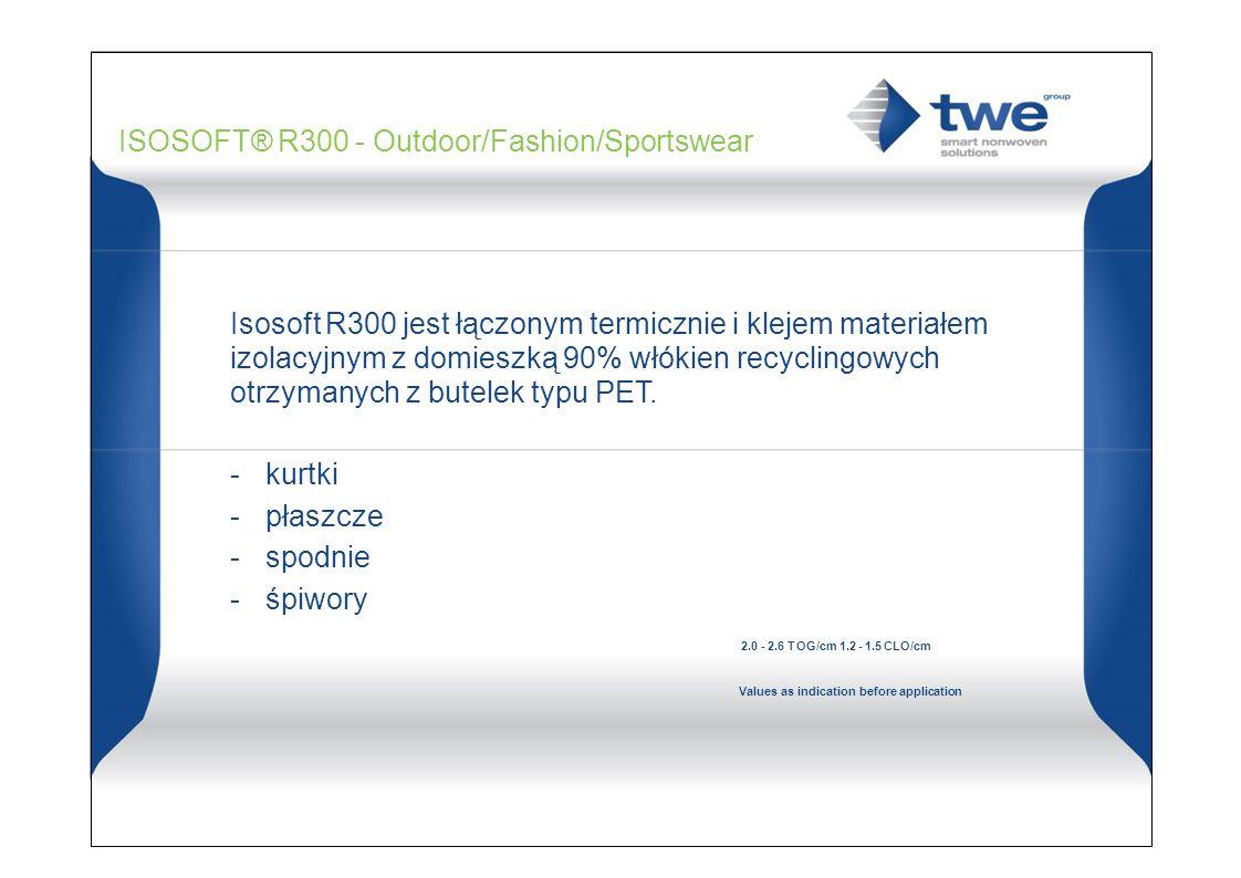 ISOSOFT® R300 - Outdoor/Fashion/Sportswear Isosoft R300 jest łączonym termicznie i klejem materiałem izolacyjnym z domieszką 90% włókien recyclingowych otrzymanych z butelek typu PET.