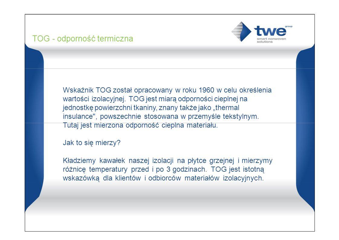 TOG - odporność termiczna Wskaźnik TOG został opracowany w roku 1960 w celu określenia wartości izolacyjnej.