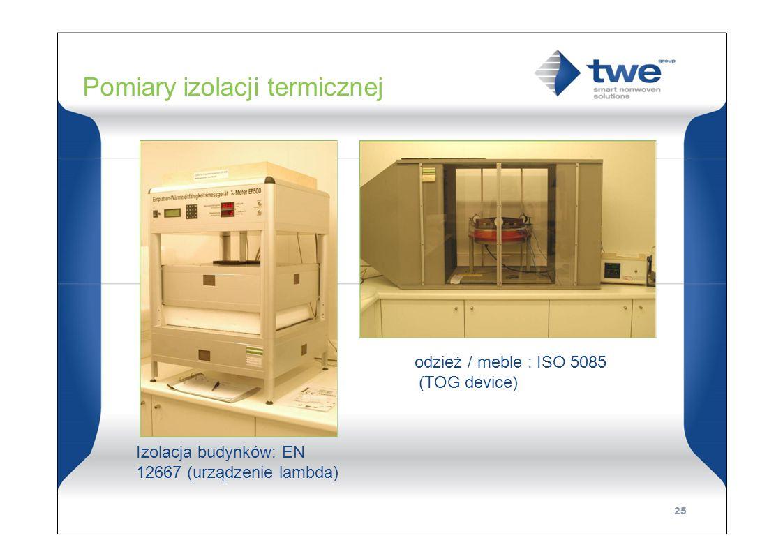 Pomiary izolacji termicznej odzież / meble : ISO 5085 (TOG device) Izolacja budynków: EN 12667 (urządzenie lambda) 25