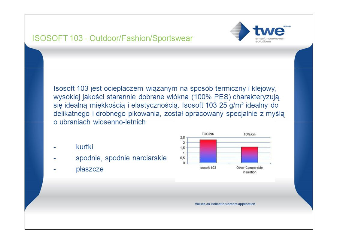 2.0 - 2.5 TOG/cm 1.3 - 1.7 CLO/cm ISOSOFT 103 - Outdoor/Fashion/Sportswear Isosoft 103 jest ocieplaczem wiązanym na sposób termiczny i klejowy, wysokiej jakości starannie dobrane włókna (100% PES) charakteryzują się idealną miękkością i elastycznością.