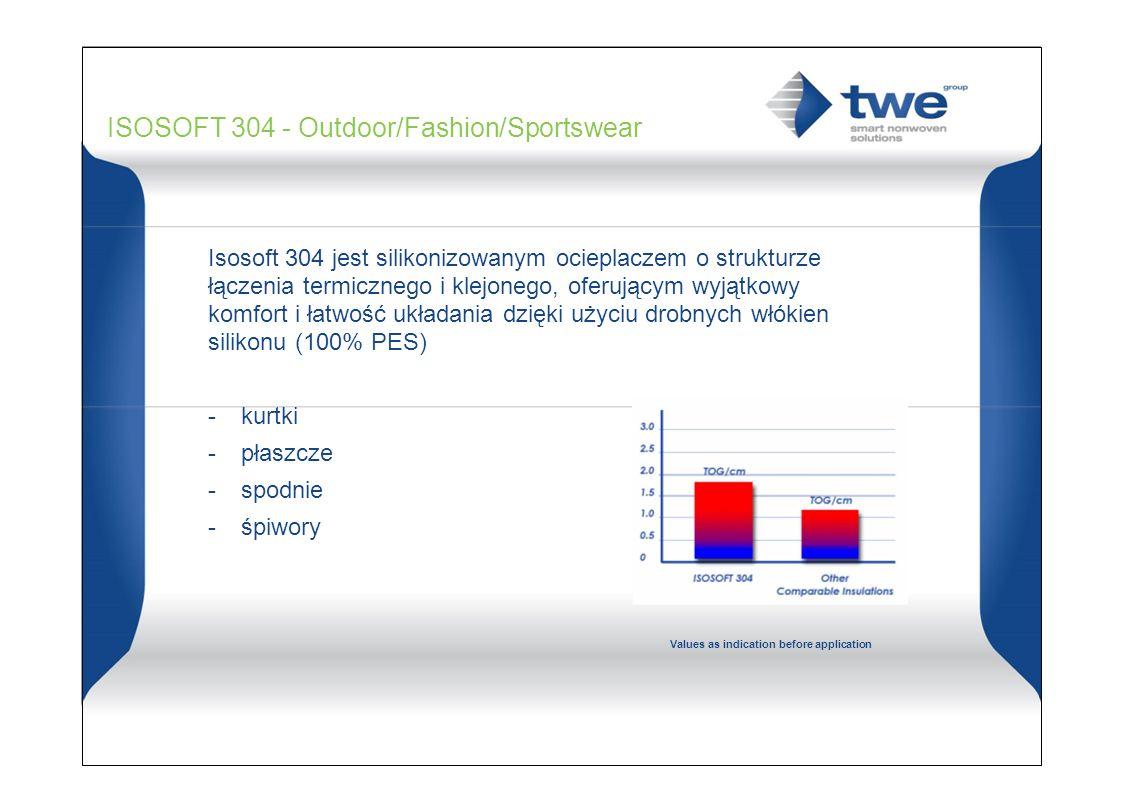 1.6 - 1.8 TOG/cm 0.9 - 1.2 CLO/cm ISOSOFT 304 - Outdoor/Fashion/Sportswear Isosoft 304 jest silikonizowanym ocieplaczem o strukturze łączenia termicznego i klejonego, oferującym wyjątkowy komfort i łatwość układania dzięki użyciu drobnych włókien silikonu (100% PES) - kurtki - płaszcze - spodnie - śpiwory Values as indication before application