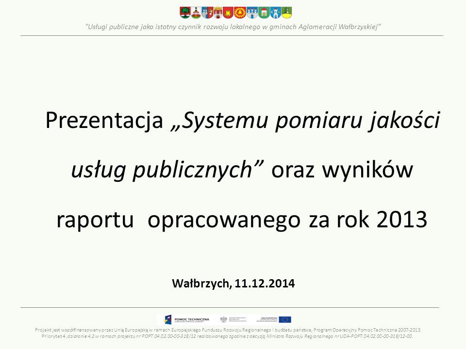 Usługi publiczne jako istotny czynnik rozwoju lokalnego w gminach Aglomeracji Wałbrzyskiej Wskaźniki - KOMUNIKACJA 1/2 Długość ścieżek rowerowych w stosunku do dróg publicznych Średni wiek pojazdów transportu publicznego Odsetek pojazdów transportu publicznego przystosowanych do potrzeb osób o ograniczonych możliwościach ruchowych Projekt jest współfinansowany przez Unię Europejską w ramach Europejskiego Funduszu Rozwoju Regionalnego i budżetu państwa, Program Operacyjny Pomoc Techniczna 2007-2013 Priorytet 4, działanie 4.2 w ramach projektu nr POPT.04.02.00-00-318/12 realizowanego zgodnie z decyzją Ministra Rozwoju Regionalnego nr UDA-POPT.04.02.00-00-318/12-00.