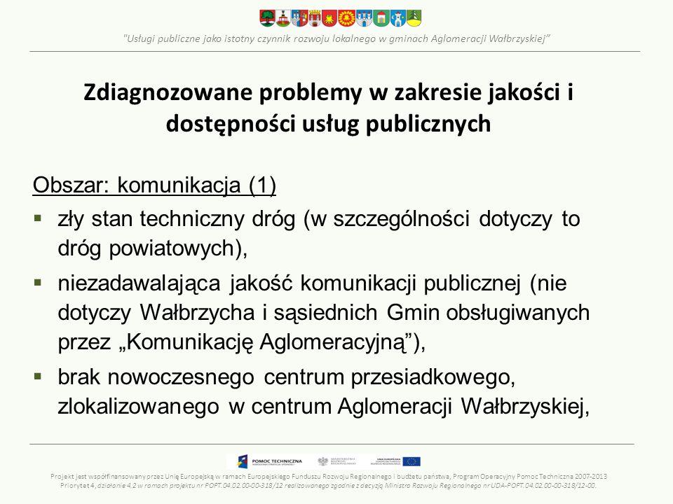 Usługi publiczne jako istotny czynnik rozwoju lokalnego w gminach Aglomeracji Wałbrzyskiej Zdiagnozowane problemy w zakresie jakości i dostępności usług publicznych Obszar: komunikacja (2)  zły stan infrastruktury kolejowej oraz skromna oferta transportowa,  brak obwodnic m.in.