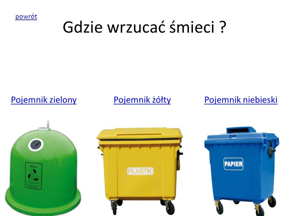 Gdzie wrzucać śmieci ? Pojemnik zielonyPojemnik żółtyPojemnik niebieski powrót