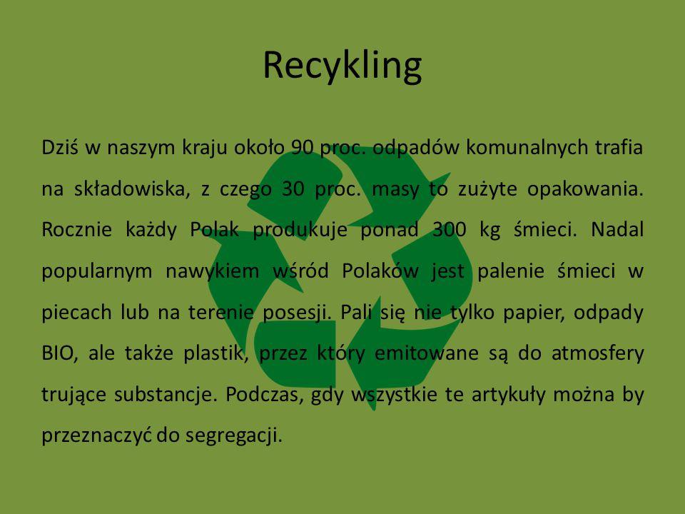 Recykling Dziś w naszym kraju około 90 proc. odpadów komunalnych trafia na składowiska, z czego 30 proc. masy to zużyte opakowania. Rocznie każdy Pola