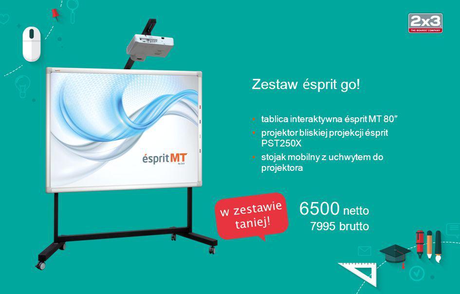 Zestaw ésprit wall tablica interaktywna ésprit MT 80″ projektor bliskiej projekcji ésprit PST250X uchwyt ścienny do projektora US1 5500 netto 6765 brutto