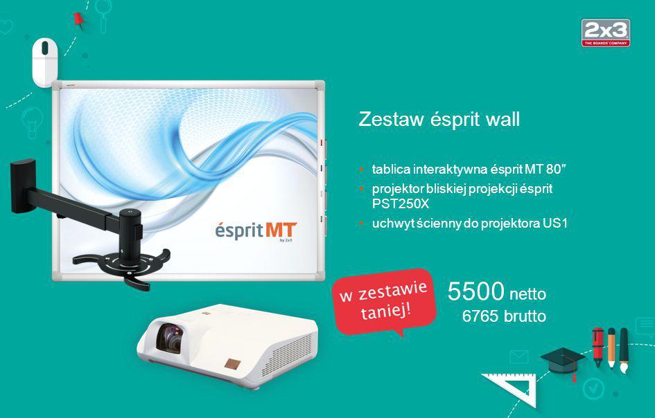technologia optyczna (wystarczy palec) obsługa multigestów (Win7+) połączenie via USB powierzchnia robocza 80″, ceramiczna (suchościeralno-magnetyczna) rama aluminiowa anodowana projektor VE281X Tablica interaktywna 3500 netto 4305 brutto